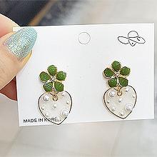53105耳钉式, 心形, 植物, 平面/立体几何图形, 其他形状花 心形 圆形 珍珠