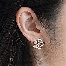 53122耳钉式, 植物, 平面/立体几何图形, 其他形状花 圆形 珠子 长方形