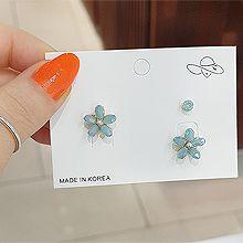 53140耳钉式, 植物, 平面/立体几何图形, 其他形状花 圆形 珍珠 椭圆形