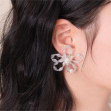 53145耳钉式, 植物, 平面/立体几何图形, 其他形状花 圆形 椭圆形 长方形 镂空 珍珠