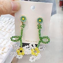 53167耳钉式, 植物, 平面/立体几何图形, 其他形状花 圆形 珠子 串珠