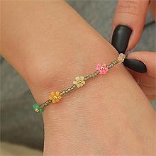 53097穿珠链, 单层链, 植物, 平面/立体几何图形, 其他形状花 圆形 珠子