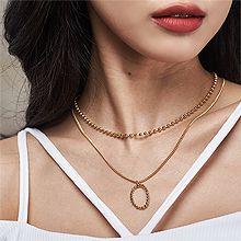 52935锁链形, 珠仔链, 多层链, 字母数字/符号, 平面/立体几何图形珠子链 锁链 圆形 椭圆形 两件套