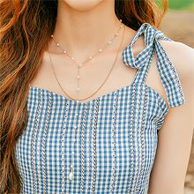 53026锁链形, 穿珠链, 多层链, 平面/立体几何图形, 其他形状圆形 珍珠 双层连 水滴形