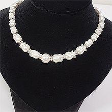 53044穿珠链, 单层链, 植物, 平面/立体几何图形, 其他形状花 圆形 圆环 珍珠 珠子