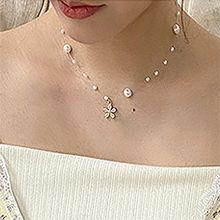 53055穿珠链, 单层链, 植物, 平面/立体几何图形, 其他形状花 圆形 珍珠