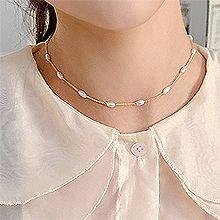 53056锁链形, 穿珠链, 单层链, 平面/立体几何图形, 其他形状锁链 椭圆形 珍珠