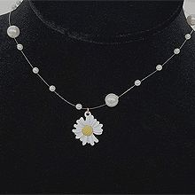 52994穿珠链, 单层链, 植物, 平面/立体几何图形圆形 花 雏菊 珍珠