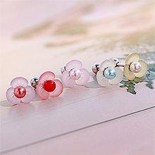 53171耳钉式, 其他分类特征, 植物, 平面/立体几何图形, 其他形状花 圆形 珍珠