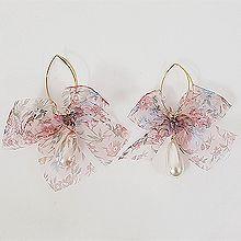 53188耳圈耳扣, 其他分类特征, 蝴蝶结, 植物, 平面/立体几何图形, 其他形状蝴蝶结 花 水滴形 珍珠 椭圆形