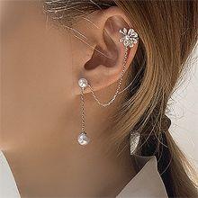 53216耳钉式, 耳夹, 植物, 平面/立体几何图形, 其他形状花 圆形 珍珠 锁链
