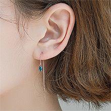53313耳钉式, 其他分类特征, 平面/立体几何图形, 其他形状锁链 水滴形 耳线 整件925银