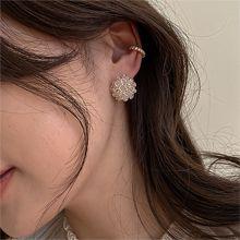 53321耳钉式, 植物, 平面/立体几何图形, 其他形状花 圆形 珠子