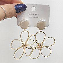 53327耳钉式, 植物, 平面/立体几何图形, 其他形状花 圆形 多边形 椭圆形 珍珠 珠子