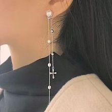 53357耳钉式, 十字架十字架 流苏 珍珠 珠子 后挂式