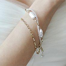 53361锁链形, 穿珠链, 多层链椭圆形 珠子 珍珠 双层