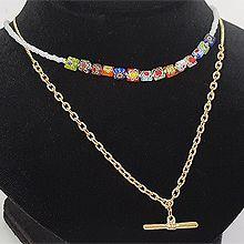 53295锁链形, 穿珠链, 多层链, 其他分类特征, 植物, 平面/立体几何图形, 其他形状花  圆形 方形 椭圆形 长方形 珠子 两件套