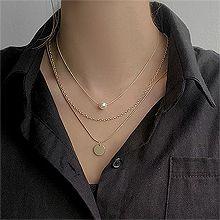 53318锁链形, 多层链, 平面/立体几何图形, 其他形状圆形 珍珠 圆片 蛇链 三层连 两件套