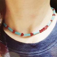 53371穿珠链, 单层链, 心形心形 圆柱形