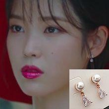 53443耳钉式珍珠 珠子 水滴形 明星款 整件925银 李智恩
