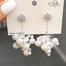 53451耳钉式, 植物花 珍珠 珠子 葡萄串珠