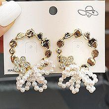 53452耳钉式, 蝴蝶结, 植物蝴蝶结 花 不规则形 珠子 珍珠