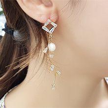 53489耳钉式长方形 菱形 S形 天然珍珠