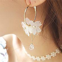 53490耳圈耳扣, 植物花 珠子 天然珍珠 水滴形