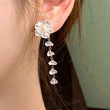 53511耳钉式, 植物花 珠子 珍珠