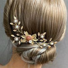 53564发梳插梳, 植物花 叶子 圆形 珍珠 珠子