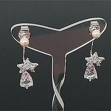 53598耳钉式, 天体自然现象星星 水滴形 珍珠 珠子 后挂式