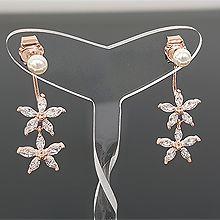 53630耳钉式, 植物花 珍珠 珠子 后挂式