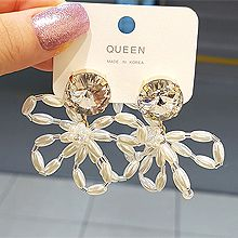 53635耳钉式, 植物花 珠子 珍珠 椭圆形