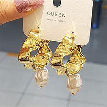 53636耳钉式C形 波浪 珠子 珍珠