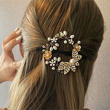 53561边夹顶夹, 植物弹簧夹 叶子 珍珠 珠子 花