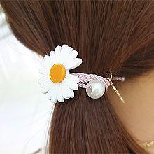 53565发圈发绳, 植物花 叶子 珍珠 珠子 雏菊