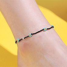 53409穿珠链, 单层链, 植物花 珠子 脚链