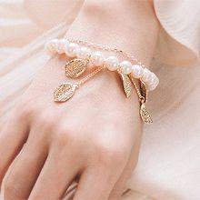 53588穿珠链, 多层链, 植物叶子 天然珍珠 珠子 双层