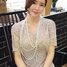 53605穿珠链, 多层链多层 五层 珍珠 珠子 长款