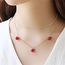 53628锁链形, 多层链, 植物珠子 叶子 樱桃 双层 苹果