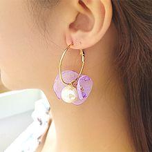 53644耳圈耳扣, 植物花 珍珠 珠子