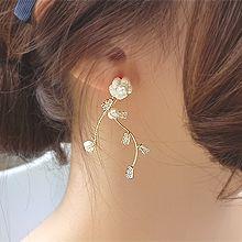 53668耳钉式, 植物花 长方形 S形 天然珍珠 贝壳