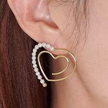 53672耳钉式, 心形心形 珠子 珍珠