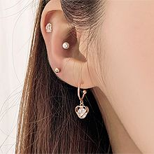 53738耳钉式, 心形心形 C形 珠子 珍珠 圆形 长方形 十四件套