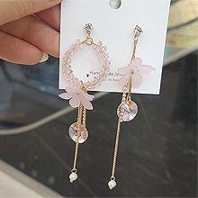 53784耳钉式, 植物花 圆形 不对称 圆环 流苏 珍珠 珠子