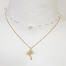 53803锁链形, 穿珠链, 多层链, 植物花 珍珠 珠子 两件套 双层