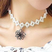 53684穿珠链, 单层链, 植物花 珍珠 珠子