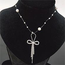 53804穿珠链, 单层链, 蝴蝶结蝴蝶结 流苏 珍珠 珠子 水滴形