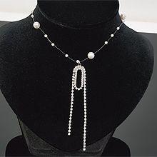 53807穿珠链, 单层链椭圆形 珍珠 珠子 流苏