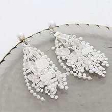 53851耳钉式, 植物, 食物/饮料珍珠 珠子 花 苹果 蕾丝 叶子 蝴蝶 流苏